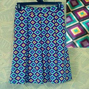 LuLaRoe M Madison Diamond Print Pleated Skirt